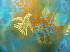 Inspired by the avian population among her Leila Kazimi likes to include hummingbird designs on her silk scarves