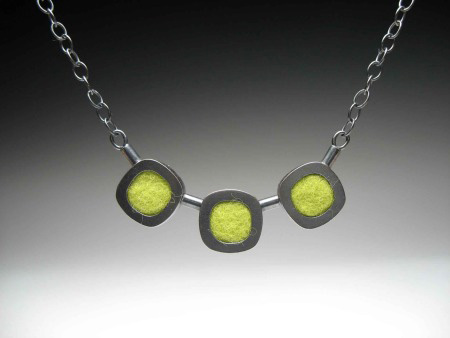 Oxidized Sterling Silver Necklace with green Felt