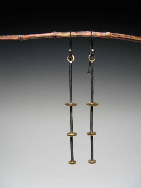 Oxidized Sterling Silver Earrings and 18K Gold Earrings by Tara Turner