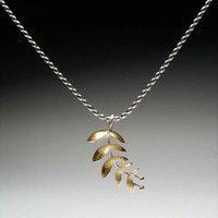 Tara Turner 22K gold and Sterling Silver with 18K gold Euphorbia Necklace