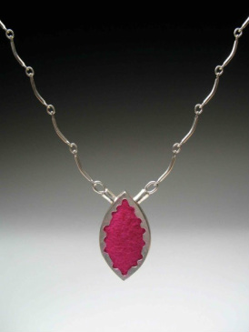 Sterling Silver Necklace with Pink Felt.  Handmade jewelry by Tara Turner